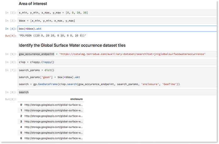 JRC Water Dataset Jupyter Notebooks
